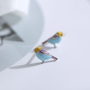 925 silver bird earrings studs tiny enamel new